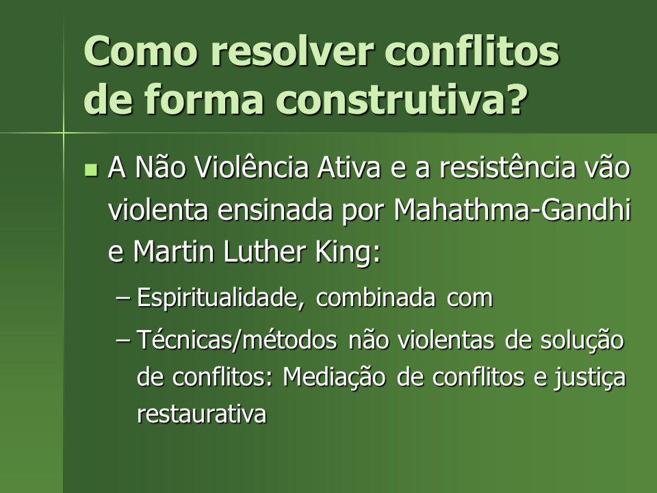 Como resolver conflitos de forma construtiva? A Não Violência Ativa e a resistência vão violenta ensinada por Mahathma-Gandhi e Martin Luther King: A