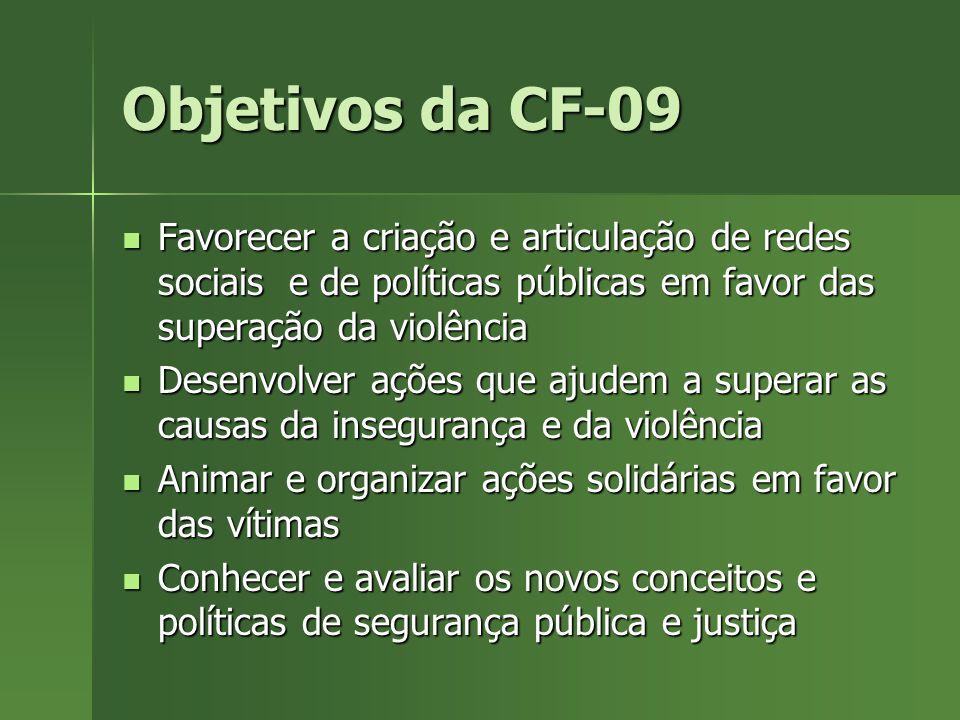 Objetivos da CF-09 Favorecer a criação e articulação de redes sociais e de políticas públicas em favor das superação da violência Favorecer a criação