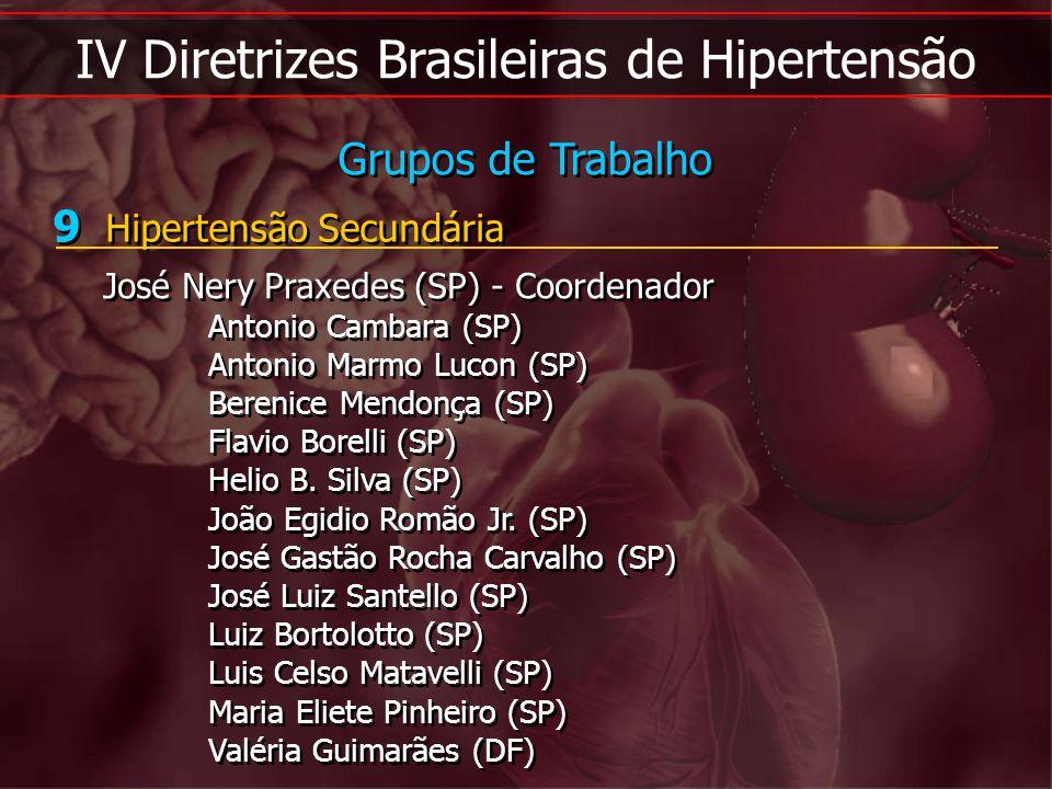IV Diretrizes Brasileiras de Hipertensão 9 Hipertensão Secundária José Nery Praxedes (SP) - Coordenador Antonio Cambara (SP) Antonio Marmo Lucon (SP)