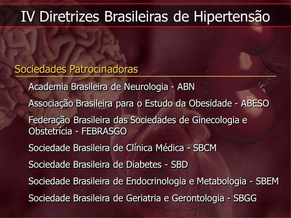 IV Diretrizes Brasileiras de Hipertensão Sociedades Patrocinadoras Academia Brasileira de Neurologia - ABN Associação Brasileira para o Estudo da Obes