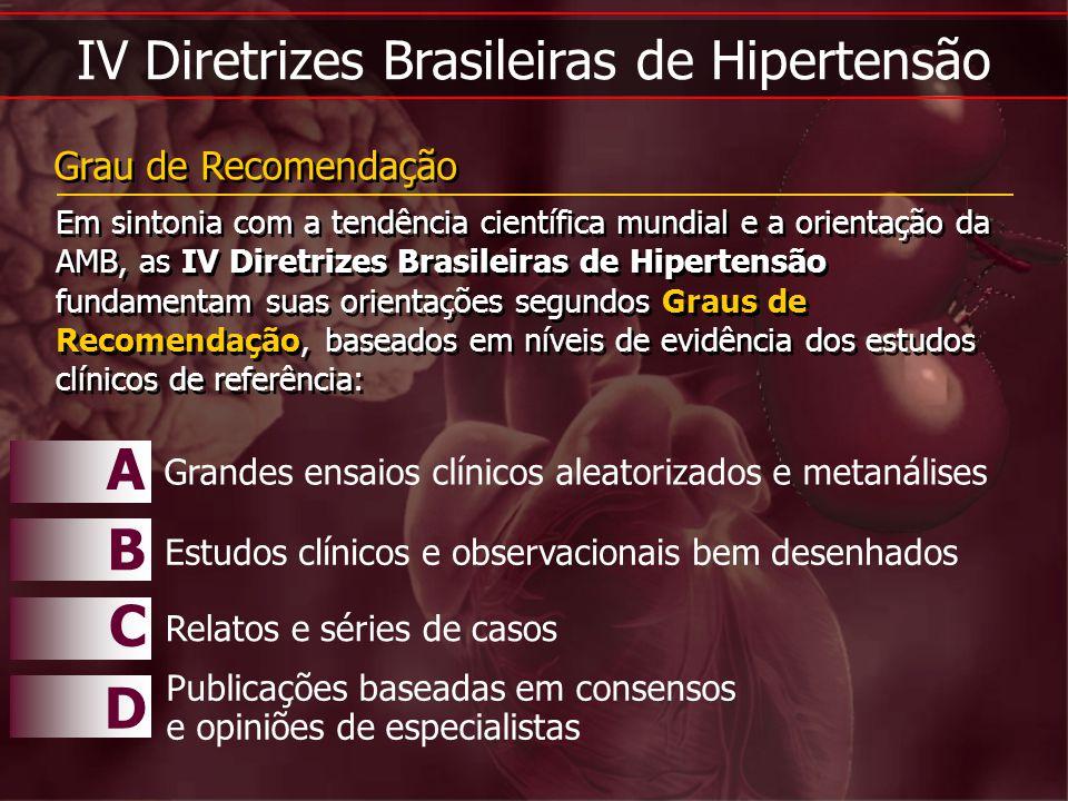 IV Diretrizes Brasileiras de Hipertensão Em sintonia com a tendência científica mundial e a orientação da AMB, as IV Diretrizes Brasileiras de Hiperte