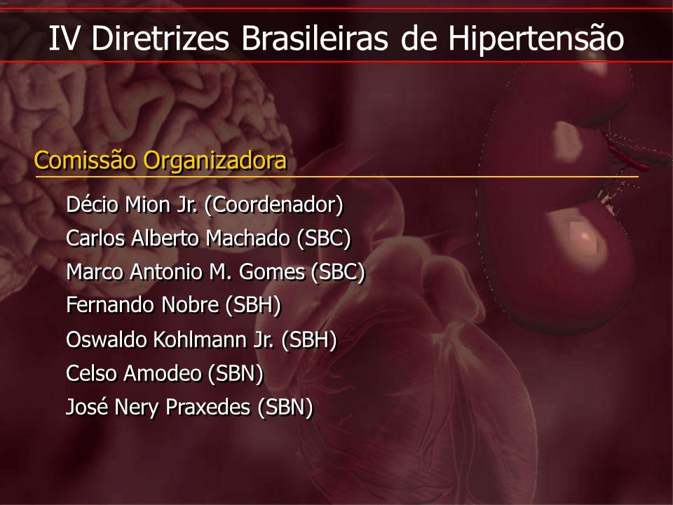 IV Diretrizes Brasileiras de Hipertensão Comissão Organizadora Décio Mion Jr. (Coordenador) Carlos Alberto Machado (SBC) Marco Antonio M. Gomes (SBC)