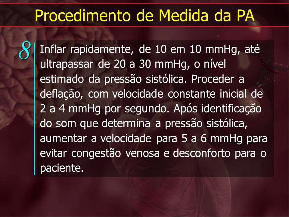 Procedimento de Medida da PA Inflar rapidamente, de 10 em 10 mmHg, até ultrapassar de 20 a 30 mmHg, o nível estimado da pressão sistólica. Proceder a