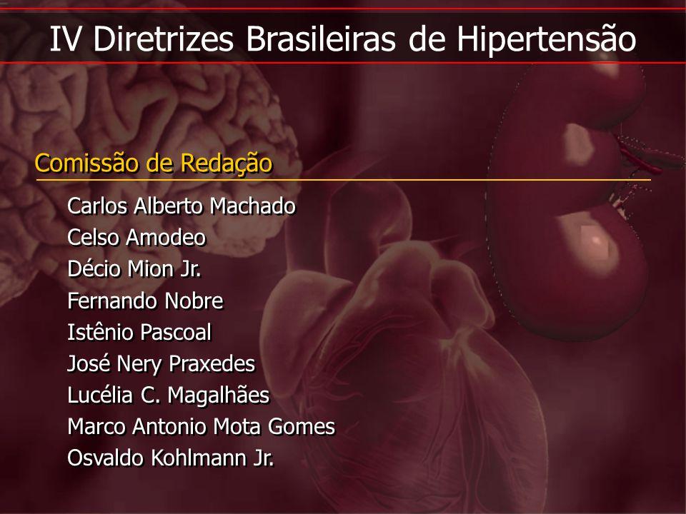 IV Diretrizes Brasileiras de Hipertensão Comissão de Redação Carlos Alberto Machado Celso Amodeo Décio Mion Jr. Fernando Nobre Istênio Pascoal José Ne