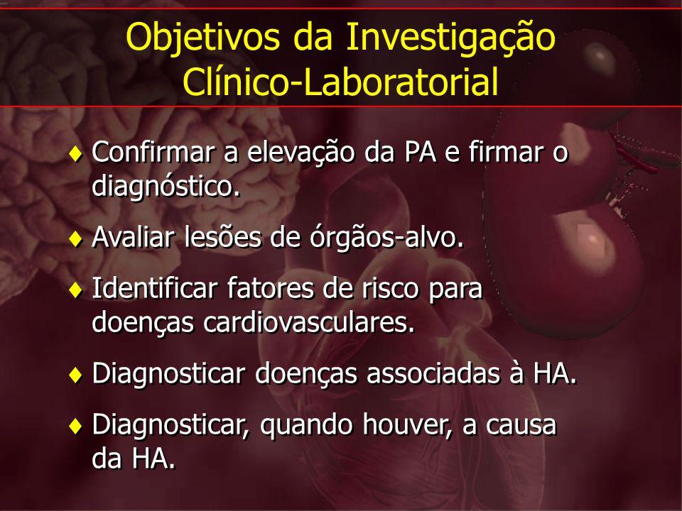 Confirmar a elevação da PA e firmar o diagnóstico. Avaliar lesões de órgãos-alvo. Identificar fatores de risco para doenças cardiovasculares. Diagnost