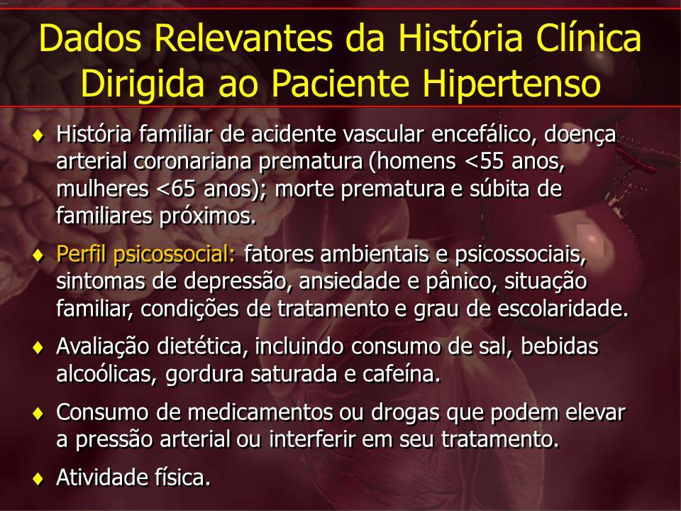 História familiar de acidente vascular encefálico, doença arterial coronariana prematura (homens <55 anos, mulheres <65 anos); morte prematura e súbit
