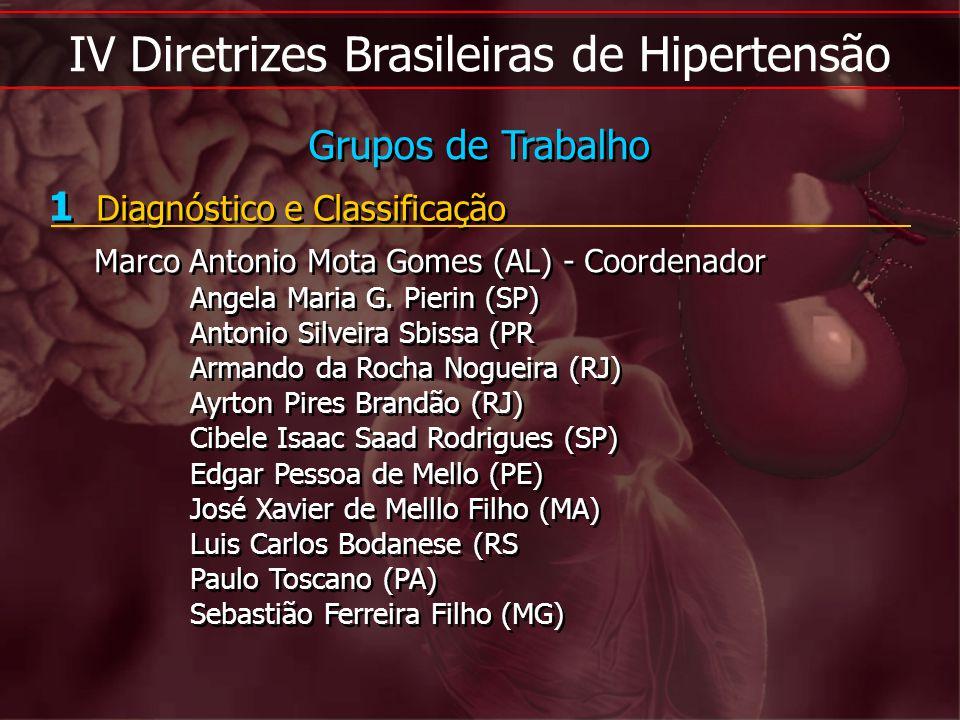 IV Diretrizes Brasileiras de Hipertensão 1 Diagnóstico e Classificação Marco Antonio Mota Gomes (AL) - Coordenador Angela Maria G. Pierin (SP) Antonio