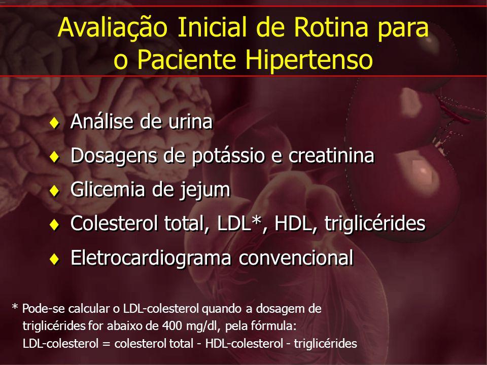 Análise de urina Dosagens de potássio e creatinina Glicemia de jejum Colesterol total, LDL*, HDL, triglicérides Eletrocardiograma convencional Análise