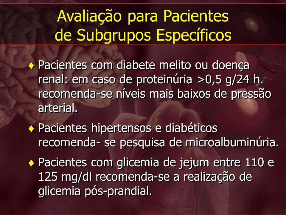 Pacientes com diabete melito ou doença renal: em caso de proteinúria >0,5 g/24 h. recomenda-se níveis mais baixos de pressão arterial. Pacientes hiper