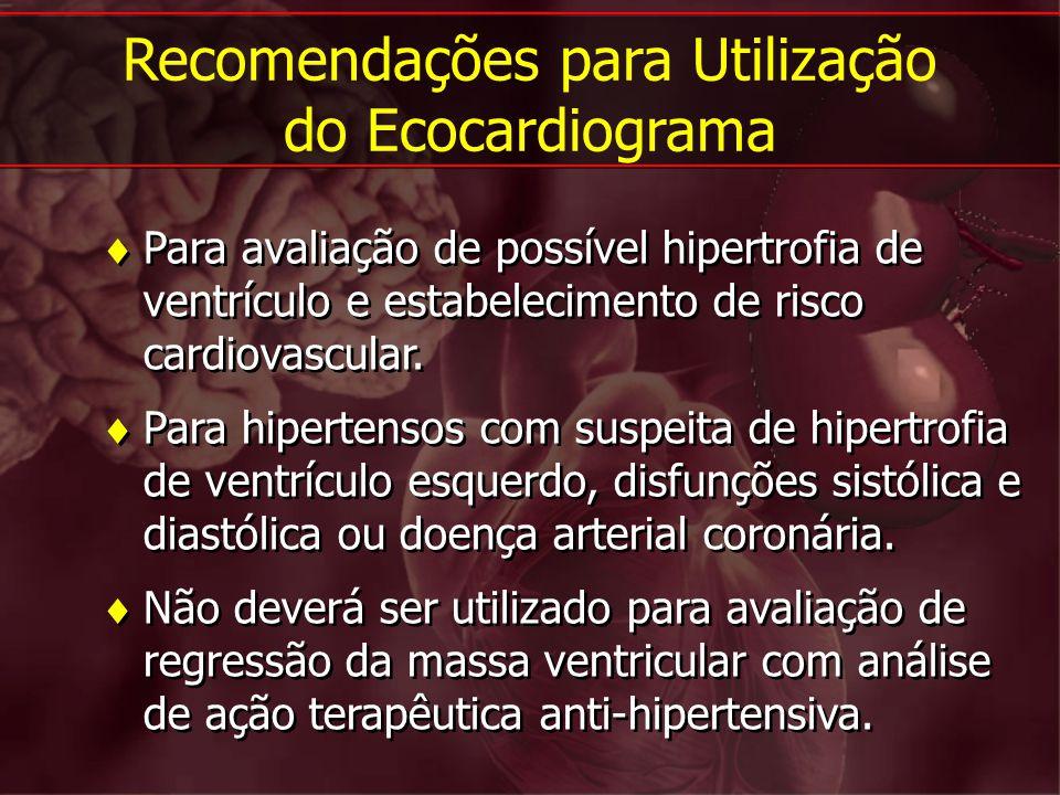 Para avaliação de possível hipertrofia de ventrículo e estabelecimento de risco cardiovascular. Para hipertensos com suspeita de hipertrofia de ventrí