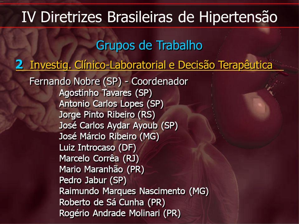 IV Diretrizes Brasileiras de Hipertensão 2 Investig. Clínico-Laboratorial e Decisão Terapêutica Fernando Nobre (SP) - Coordenador Agostinho Tavares (S