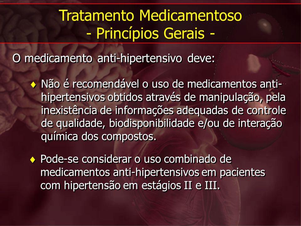 Não é recomendável o uso de medicamentos anti- hipertensivos obtidos através de manipulação, pela inexistência de informações adequadas de controle de