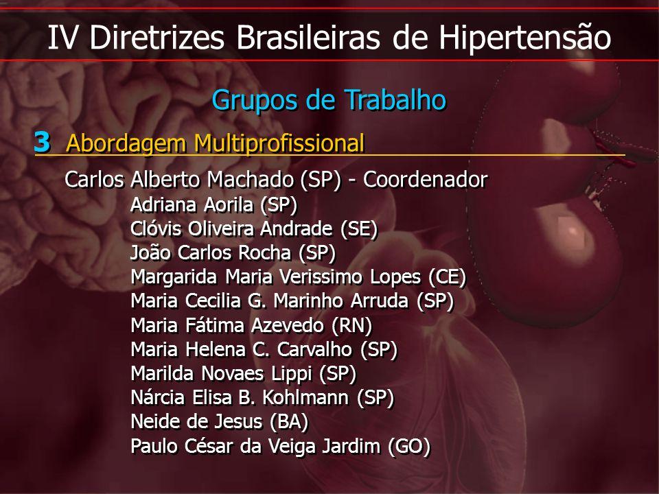 IV Diretrizes Brasileiras de Hipertensão 3 Abordagem Multiprofissional Carlos Alberto Machado (SP) - Coordenador Adriana Aorila (SP) Clóvis Oliveira A