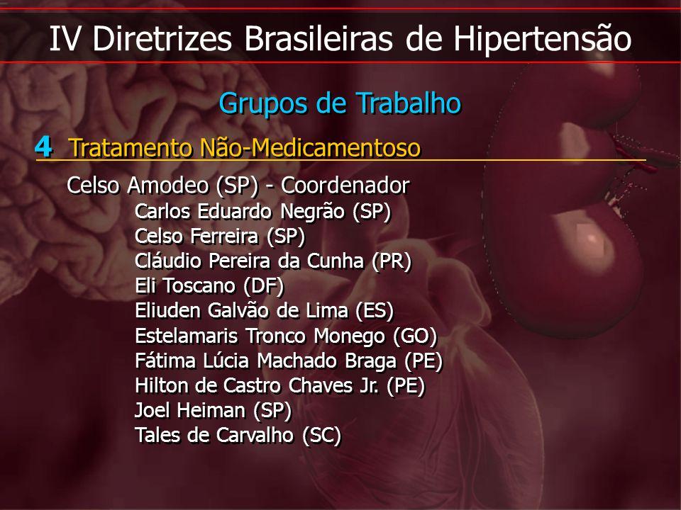 IV Diretrizes Brasileiras de Hipertensão 4 Tratamento Não-Medicamentoso Celso Amodeo (SP) - Coordenador Carlos Eduardo Negrão (SP) Celso Ferreira (SP)