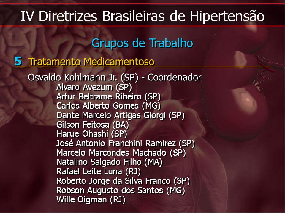 IV Diretrizes Brasileiras de Hipertensão 5 Tratamento Medicamentoso Osvaldo Kohlmann Jr. (SP) - Coordenador Alvaro Avezum (SP) Artur Beltrame Ribeiro