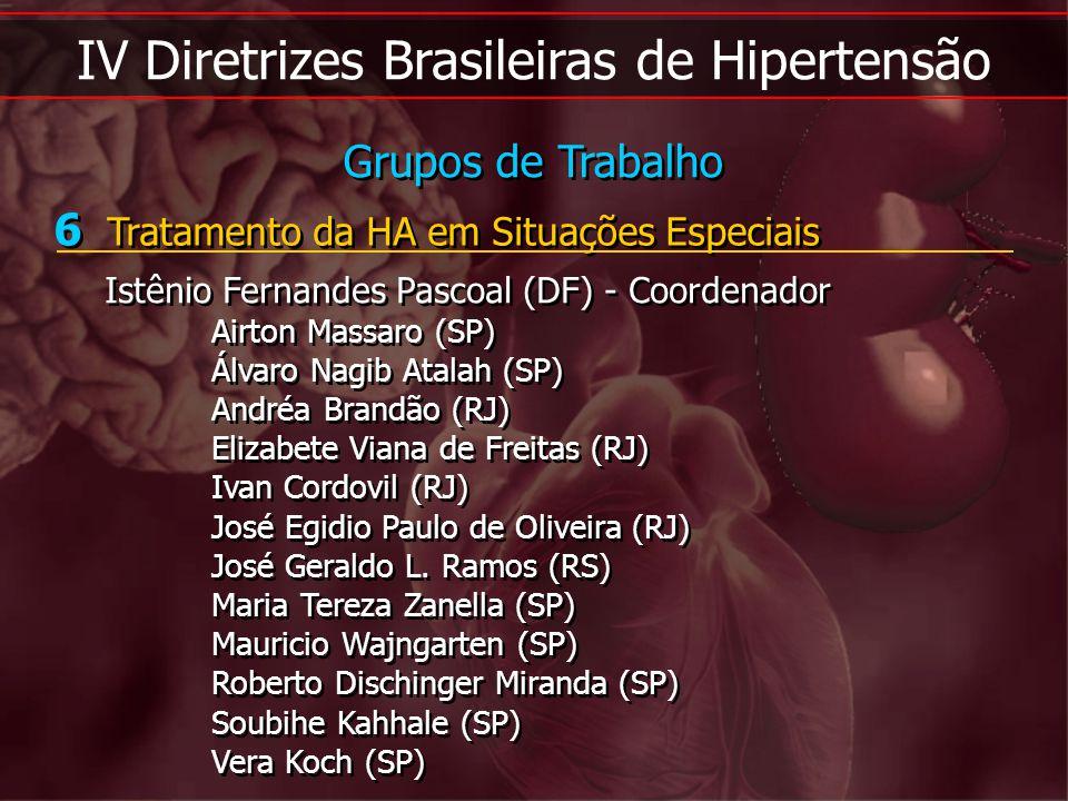 IV Diretrizes Brasileiras de Hipertensão 6 Tratamento da HA em Situações Especiais Istênio Fernandes Pascoal (DF) - Coordenador Airton Massaro (SP) Ál