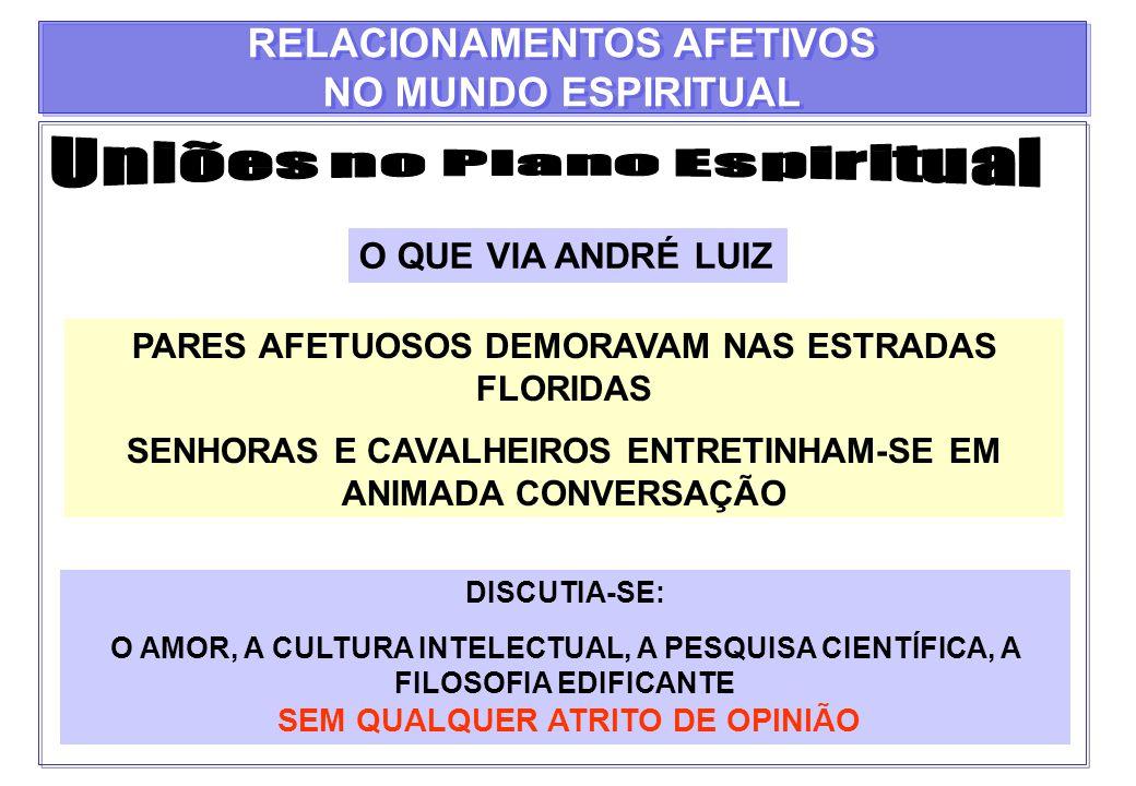 O QUE VIA ANDRÉ LUIZ PARES AFETUOSOS DEMORAVAM NAS ESTRADAS FLORIDAS SENHORAS E CAVALHEIROS ENTRETINHAM-SE EM ANIMADA CONVERSAÇÃO DISCUTIA-SE: O AMOR,