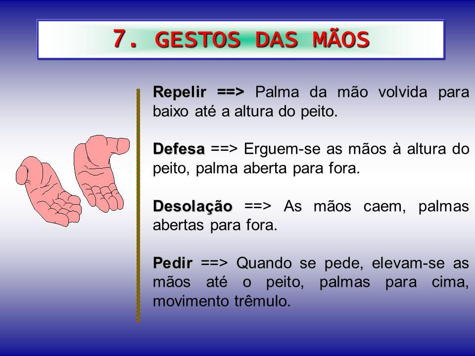 7.GESTOS DAS MÃOS Repelir ==> Repelir ==> Palma da mão volvida para baixo até a altura do peito.