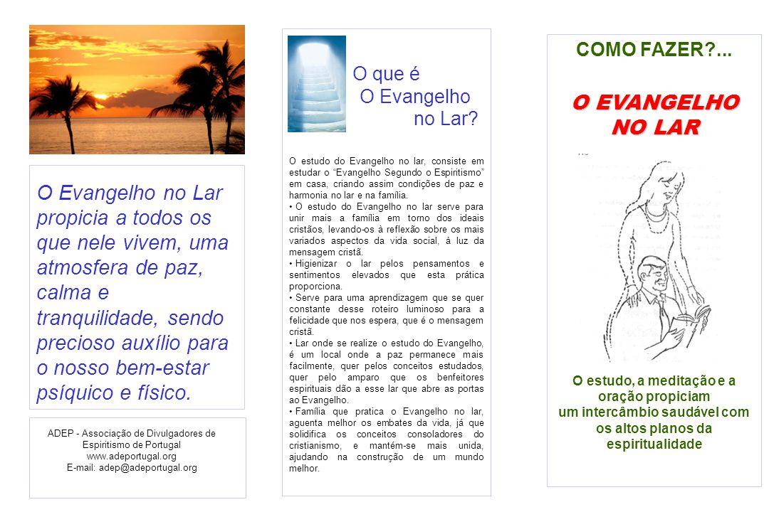 COMO FAZER?... O EVANGELHO NO LAR O estudo, a meditação e a oração propiciam um intercâmbio saudável com os altos planos da espiritualidade O Evangelh