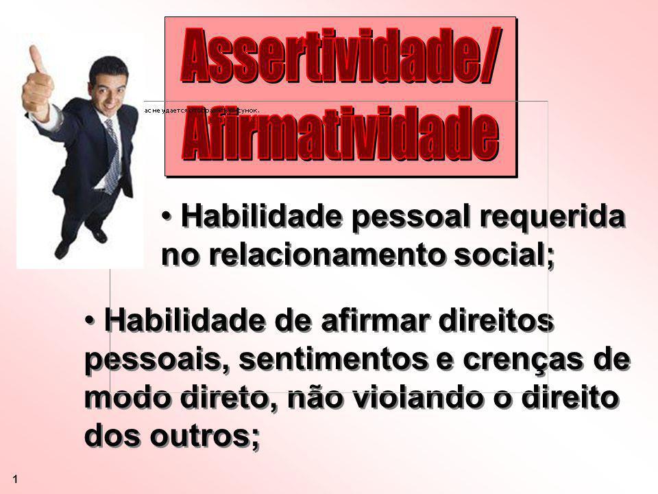 Habilidade pessoal requerida no relacionamento social; Habilidade de afirmar direitos pessoais, sentimentos e crenças de modo direto, não violando o d