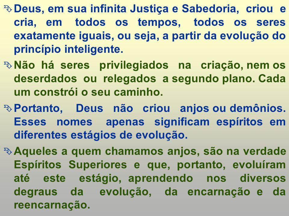 Deus, em sua infinita Justiça e Sabedoria, criou e cria, em todos os tempos, todos os seres exatamente iguais, ou seja, a partir da evolução do princípio inteligente.