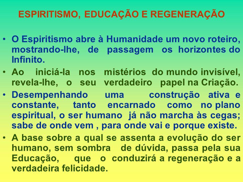 ESPIRITISMO, EDUCAÇÃO E REGENERAÇÃO O Espiritismo abre à Humanidade um novo roteiro, mostrando-lhe, de passagem os horizontes do Infinito.