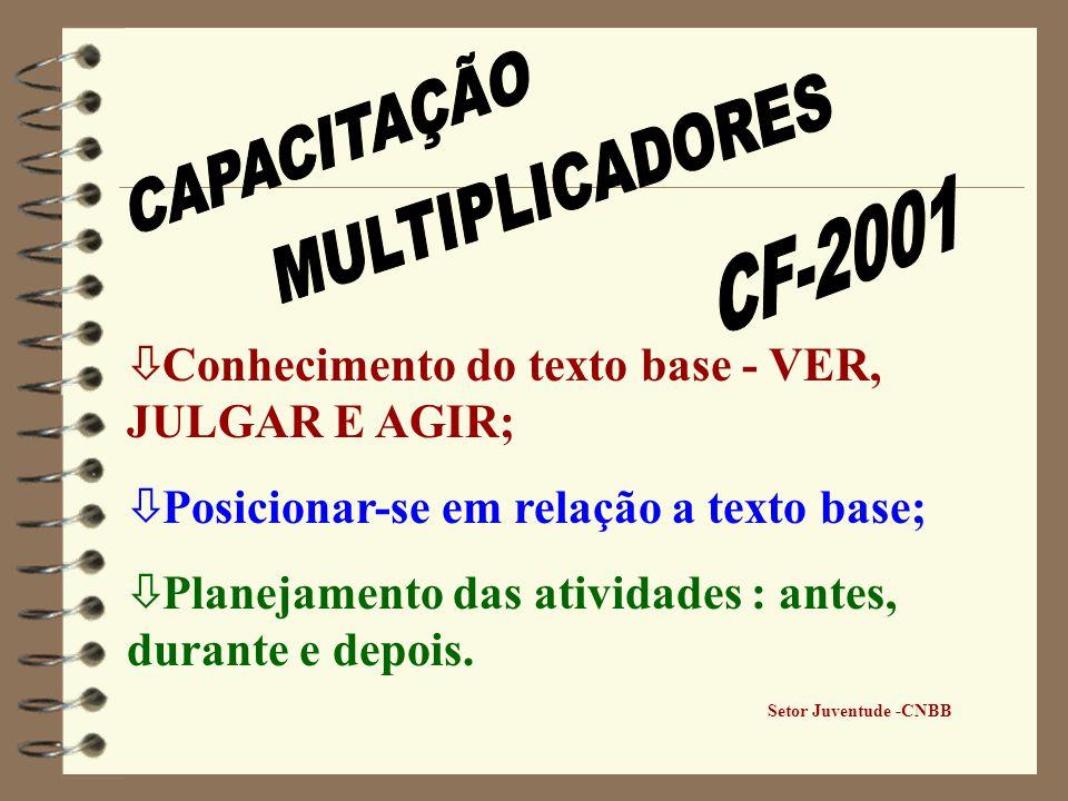 ò Conhecimento do texto base - VER, JULGAR E AGIR; ò Posicionar-se em relação a texto base; ò Planejamento das atividades : antes, durante e depois. S