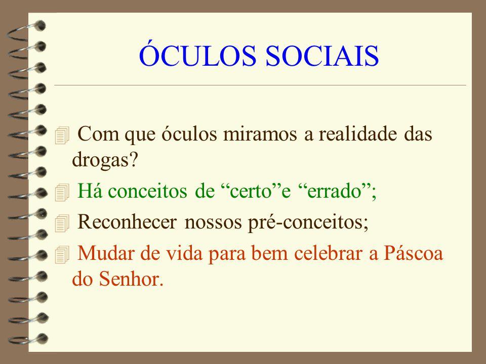 ÓCULOS SOCIAIS 4 Com que óculos miramos a realidade das drogas? 4 Há conceitos de certoe errado; 4 Reconhecer nossos pré-conceitos; 4 Mudar de vida pa