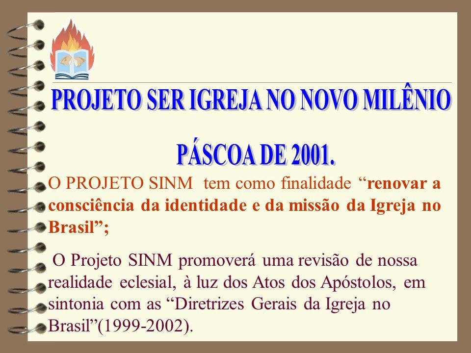 O PROJETO SINM tem como finalidade renovar a consciência da identidade e da missão da Igreja no Brasil; O Projeto SINM promoverá uma revisão de nossa