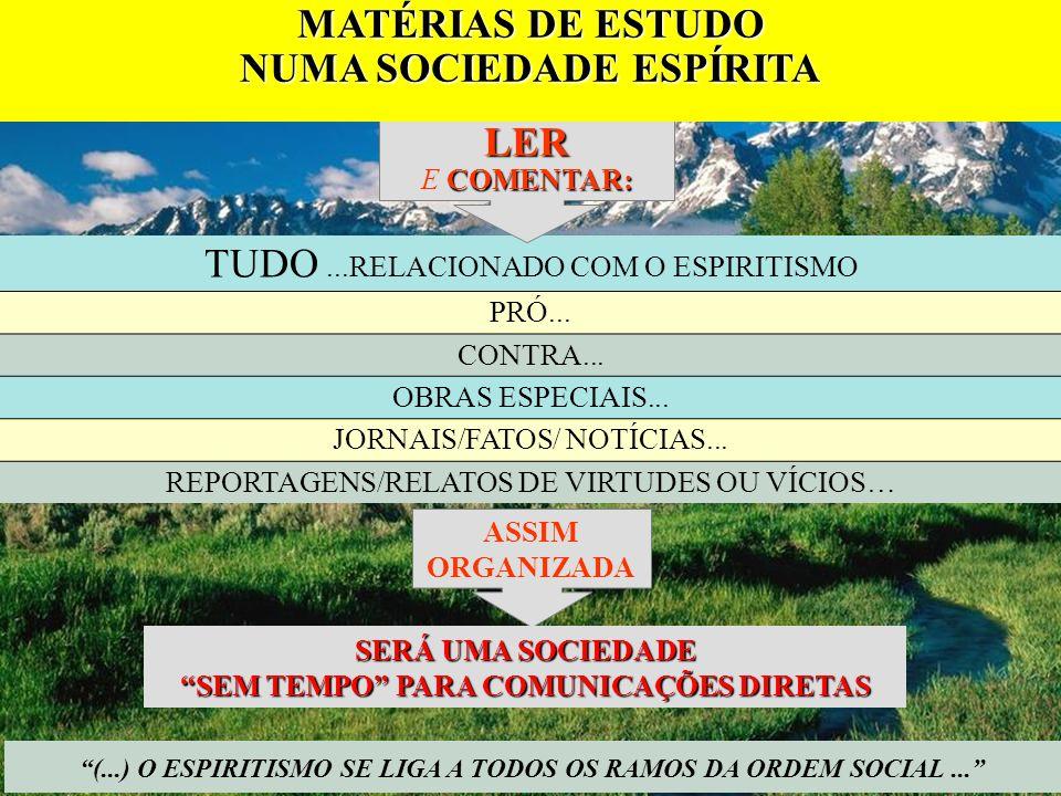 (...) O ESPIRITISMO SE LIGA A TODOS OS RAMOS DA ORDEM SOCIAL... TUDO...RELACIONADO COM O ESPIRITISMO PRÓ... CONTRA... OBRAS ESPECIAIS... JORNAIS/FATOS