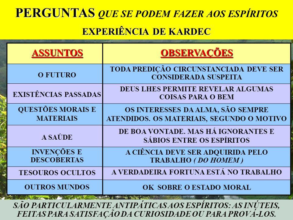 SÃO PARTICULARMENTE ANTIPÁTICAS AOS ESPÍRITOS: AS INÚTEIS, FEITAS PARA SATISFAÇÃO DA CURIOSIDADE OU PARA PROVÁ-LOS.ASSUNTOS O FUTURO EXISTÊNCIAS PASSA