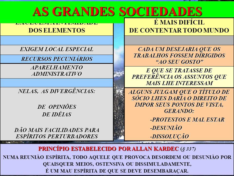 ELEMENTOS NOVOS -IDEIAS PRECONCEBIDAS -INCRÉDULOS (SISTEMÁTICOS) -ORGULHOSOS (DONOS DA VERDADE) DAS SOCIEDADES CUIDADOS ESPECIAIS ORADORES INSÍPIDOS QUEREM FALAR POR ÚLTIMO SE COMPRAZEM NA CONTRADIÇÃO OS ESPÍRITOS NÃO GOSTAM DE PALAVREADOS INÚTEIS QUEDAQUEDA NUM GRUPO: UMA PESSOA CAI; HÁ UM INIMIGO NO CAMPO.