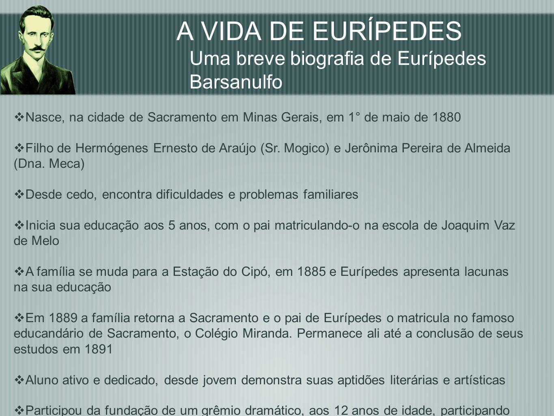 A VIDA DE EURÍPEDES Uma breve biografia de Eurípedes Barsanulfo Nasce, na cidade de Sacramento em Minas Gerais, em 1° de maio de 1880 Filho de Hermóge