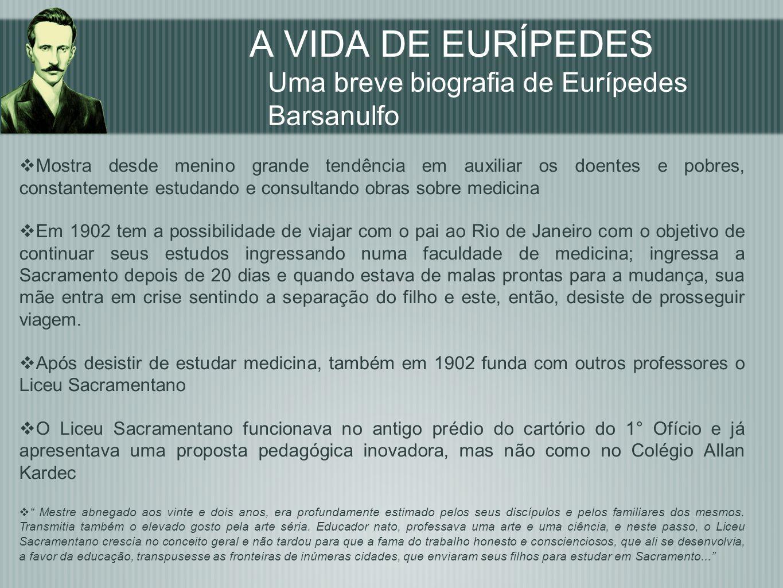 Eurípedes Barsanulfo e o Colégio Allan Kardec CONCLUSÃO Eurípedes Barsanulfo foi o fundador do primeiro colégio espírita do Brasil e líder de mudanças educacionais em sua região, político, professor, jornalista, além de um homem de ação pedagógica.