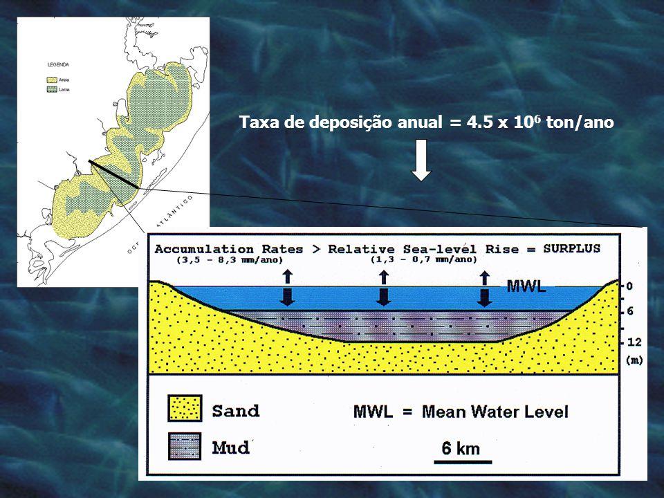 Taxa de deposição anual = 4.5 x 10 6 ton/ano