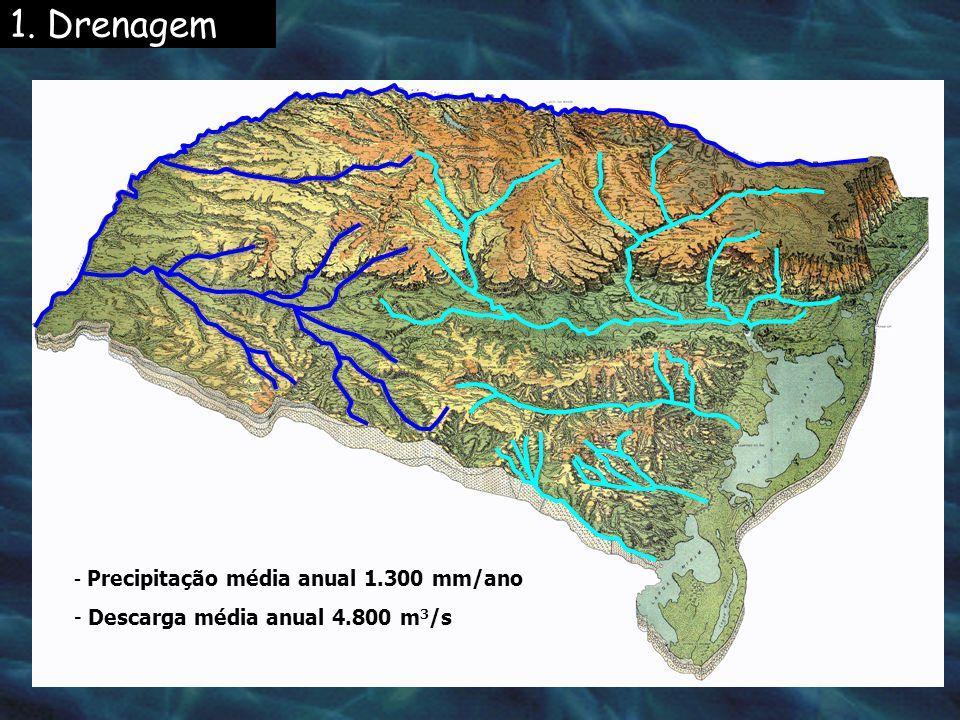 1. Drenagem - Precipitação média anual 1.300 mm/ano - Descarga média anual 4.800 m 3 /s