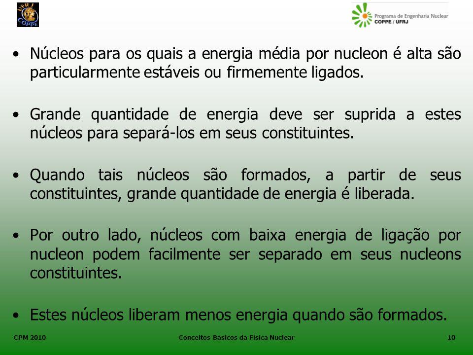 CPM 2010 Conceitos Básicos da Física Nuclear10 Núcleos para os quais a energia média por nucleon é alta são particularmente estáveis ou firmemente lig
