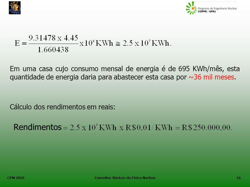 CPM 2010 Conceitos Básicos da Física Nuclear16 Em uma casa cujo consumo mensal de energia é de 695 KWh/mês, esta quantidade de energia daria para abas
