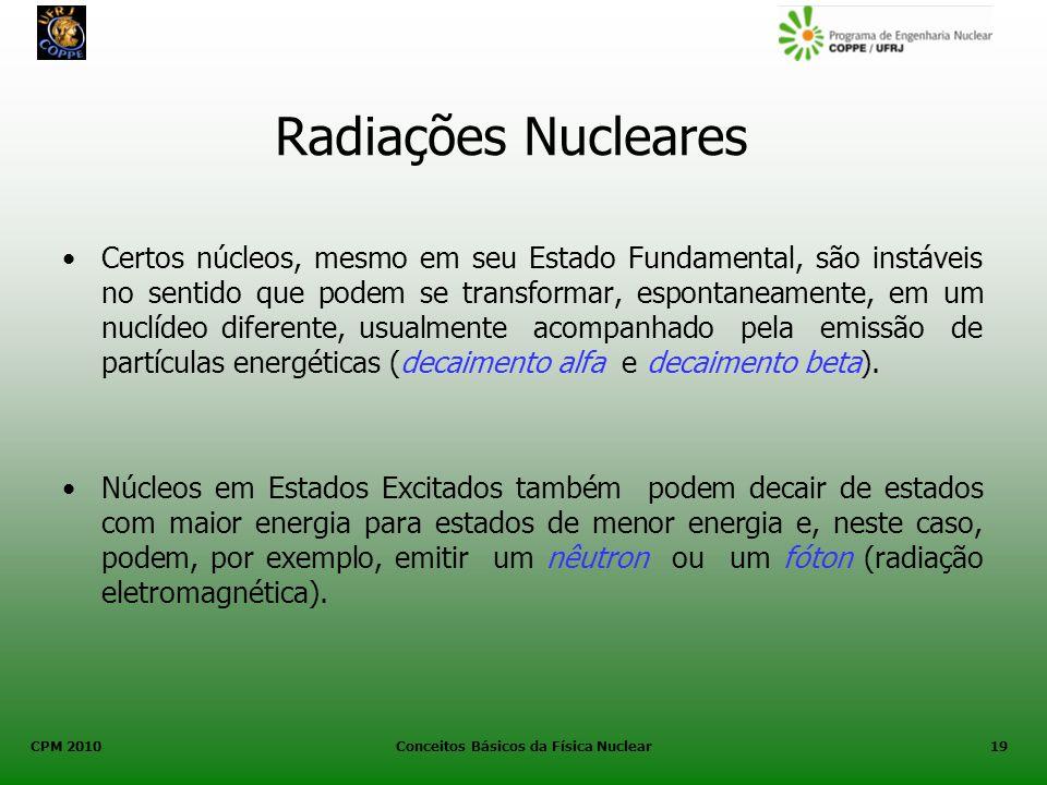 CPM 2010 Conceitos Básicos da Física Nuclear19 Radiações Nucleares Certos núcleos, mesmo em seu Estado Fundamental, são instáveis no sentido que podem