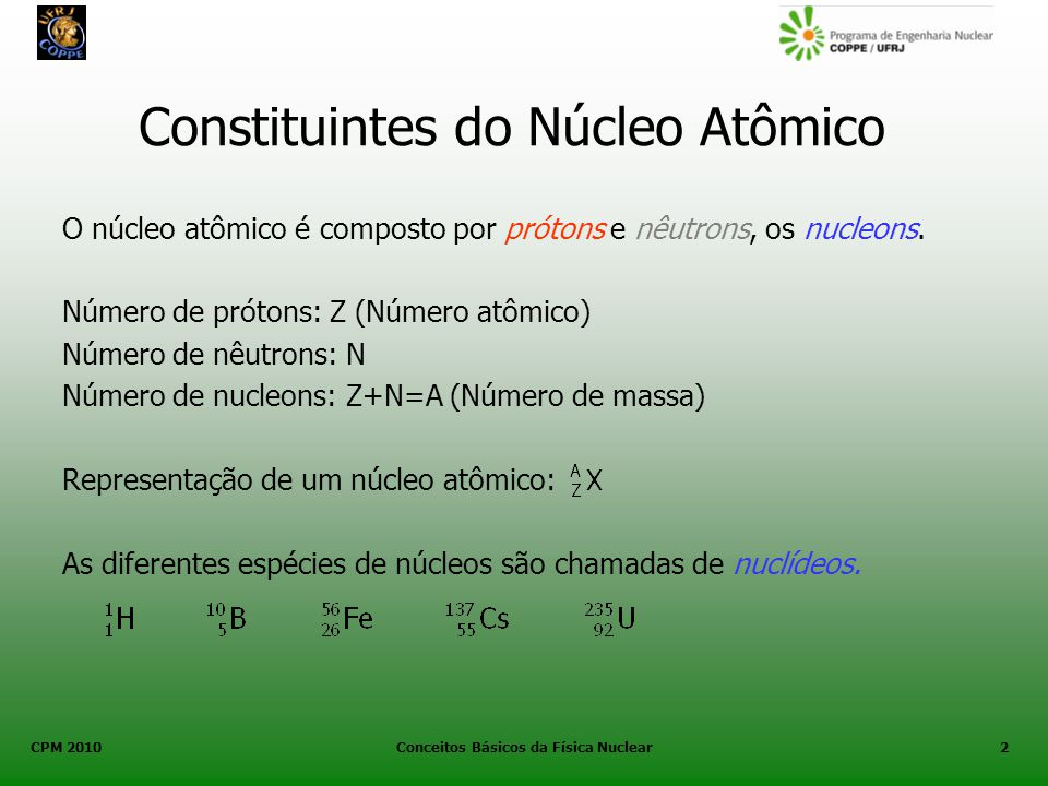 CPM 2010 Conceitos Básicos da Física Nuclear2 Constituintes do Núcleo Atômico O núcleo atômico é composto por prótons e nêutrons, os nucleons. Número