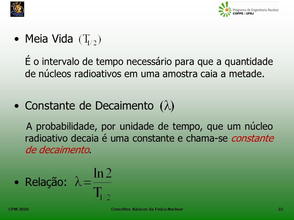 CPM 2010 Conceitos Básicos da Física Nuclear22 Meia Vida É o intervalo de tempo necessário para que a quantidade de núcleos radioativos em uma amostra