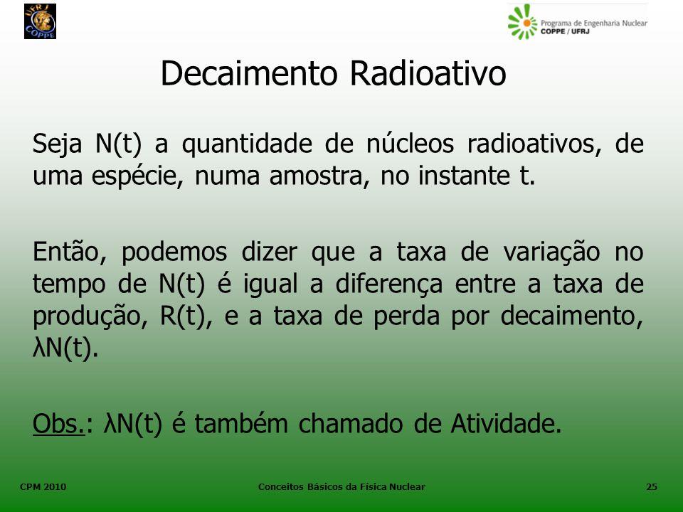CPM 2010 Conceitos Básicos da Física Nuclear25 Seja N(t) a quantidade de núcleos radioativos, de uma espécie, numa amostra, no instante t. Então, pode