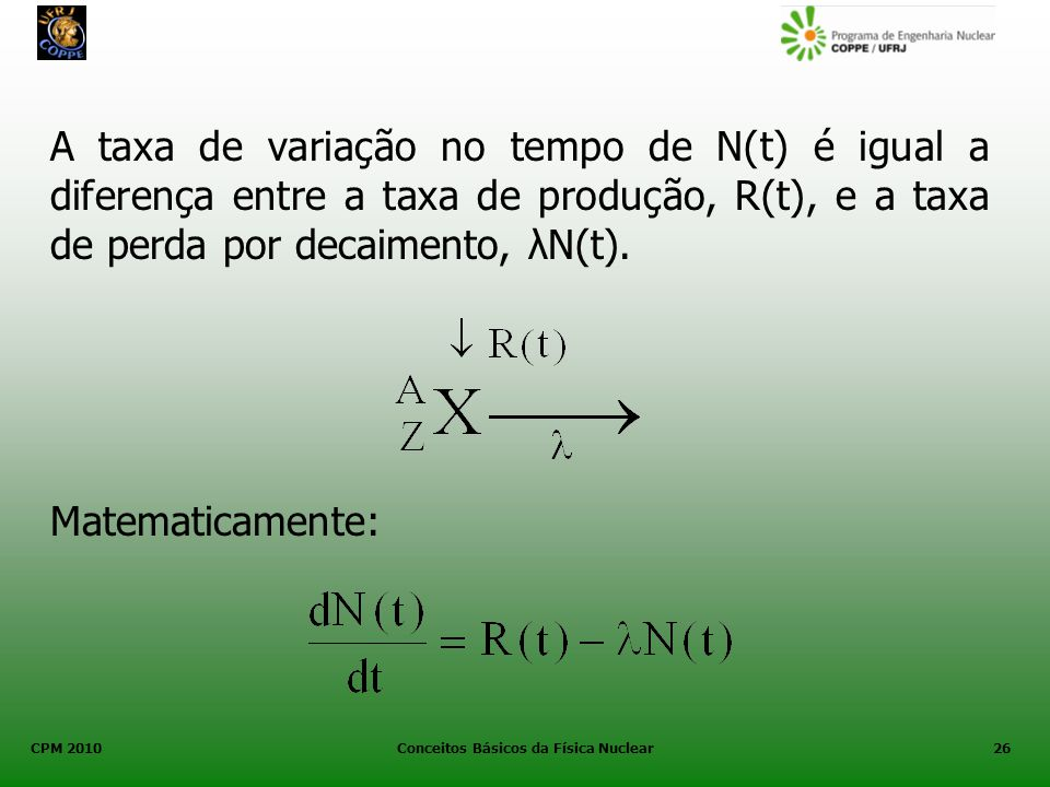CPM 2010 Conceitos Básicos da Física Nuclear26 A taxa de variação no tempo de N(t) é igual a diferença entre a taxa de produção, R(t), e a taxa de per