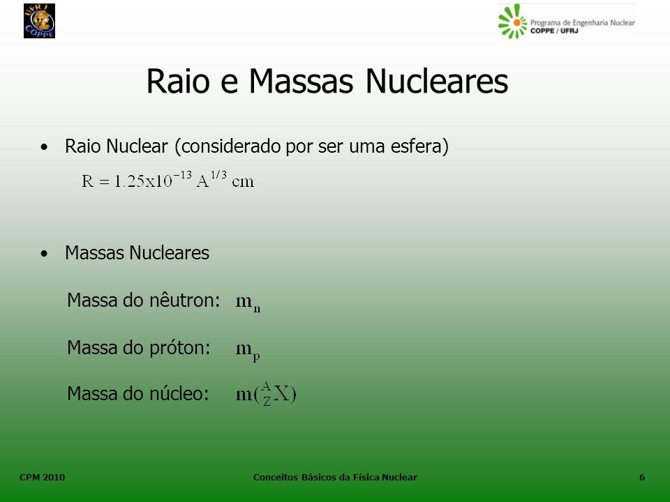 CPM 2010 Conceitos Básicos da Física Nuclear6 Raio e Massas Nucleares Raio Nuclear (considerado por ser uma esfera) Massas Nucleares Massa do nêutron: