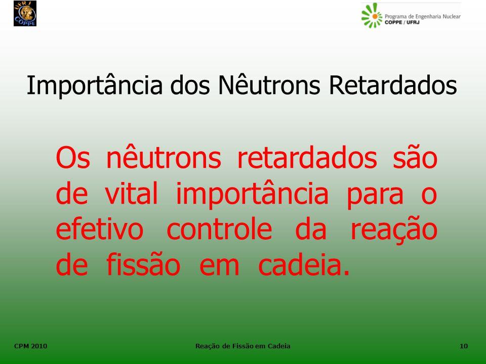 CPM 2010 Reação de Fissão em Cadeia10 Importância dos Nêutrons Retardados Os nêutrons retardados são de vital importância para o efetivo controle da r