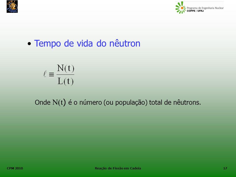 CPM 2010 Reação de Fissão em Cadeia17 Onde N(t ) é o número (ou população) total de nêutrons. Tempo de vida do nêutron