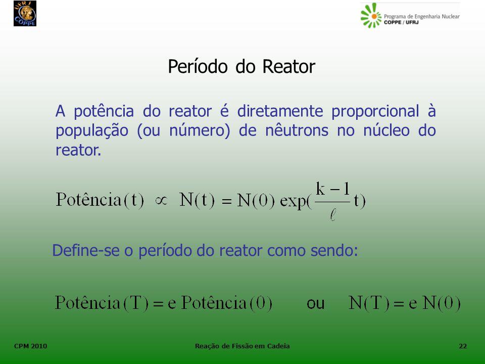 CPM 2010 Reação de Fissão em Cadeia22 Período do Reator A potência do reator é diretamente proporcional à população (ou número) de nêutrons no núcleo