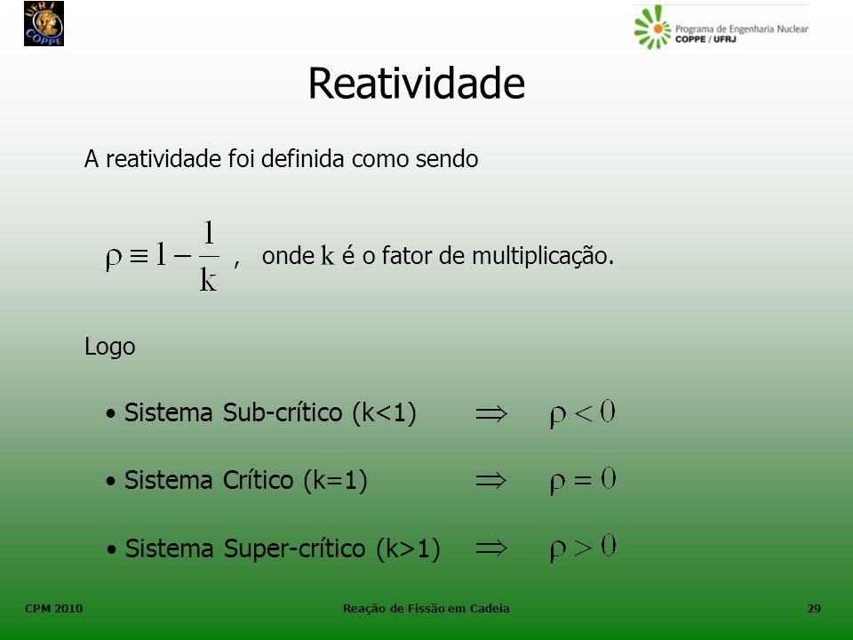 CPM 2010 Reação de Fissão em Cadeia29 Reatividade A reatividade foi definida como sendo, onde k é o fator de multiplicação. Sistema Sub-crítico (k<1)