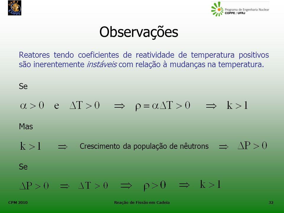CPM 2010 Reação de Fissão em Cadeia32 Observações Reatores tendo coeficientes de reatividade de temperatura positivos são inerentemente instáveis com