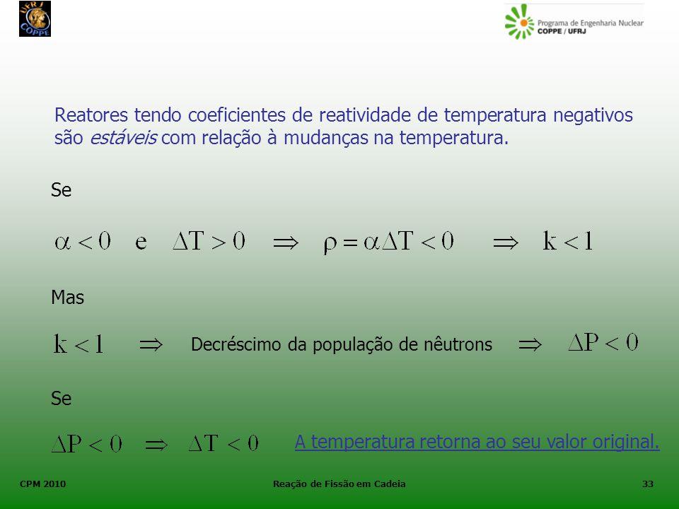CPM 2010 Reação de Fissão em Cadeia33 Reatores tendo coeficientes de reatividade de temperatura negativos são estáveis com relação à mudanças na tempe